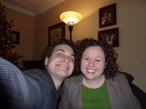 Christmas Eve 2010, Matt and I. I am giggling...